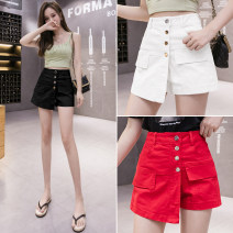 Casual pants Black white red S M L XL Spring 2021 shorts Straight pants High waist commute routine 25-29 years old 31% (inclusive) - 50% (inclusive) Dian tou other Korean version Button Other 100% Pure e-commerce (online only) Asymmetry
