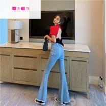 Jeans Autumn of 2019 Blue black S M L trousers High waist Flared trousers 18-24 years old Dorsa PU