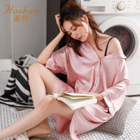 Nightdress Company 50210 Dousha 50210 Xiuhong 50210 white 50210 royal blue M L XL XXL XXXL sexy three quarter sleeve pajamas Middle-skirt summer Solid color youth Shirt collar Polyester (polyester) printing 81% (inclusive) - 95% (inclusive) silk 50210 bean paste Summer 2020