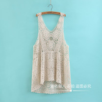 Dress Summer 2021 Black, brown, beige Average size Short skirt singleton  Sleeveless commute V-neck Loose waist Solid color Socket A-line skirt routine camisole 25-29 years old Type A Retro Hollow, lace 51% (inclusive) - 70% (inclusive) Lace cotton