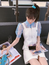 Dress Spring 2020 Blue top (including sling), white strap skirt, suit S,M,L Mid length dress Three piece set Short sleeve Sweet Polo collar High waist Broken flowers zipper A-line skirt puff sleeve straps Type X Three dimensional decoration, zipper MQ201174 31% (inclusive) - 50% (inclusive) other
