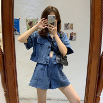Women's large Summer 2020 Jacket / jacket Two piece set commute easy thin Cardigan Short sleeve Korean version have cash less than that is registered in the accounts Denim Make old puff sleeve 18-24 years old pocket shorts