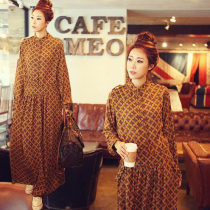Dress Spring 2018 M length 135mm l length 140mm s (can be worn under 100kg) XL length 140mm Chocolate color Long skirt Commuting Single Long sleeve Standing collar other Middle waist zipper Swing type conventional Other /other Vintage Type X 25-29 years old MOKOLO588865238 Other/others Chiffon cotton
