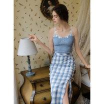 skirt Summer 2021 S,M,L Zurich Langer Mid length dress Retro High waist skirt lattice Type H 18-24 years old 51% (inclusive) - 70% (inclusive) other polyester fiber Pleating 201g / m ^ 2 (including) - 250G / m ^ 2 (including)