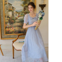 Dress Summer 2021 Ice crystal blue, ice crystal blue batch 2 S,M,L longuette singleton  Short sleeve commute square neck High waist Broken flowers zipper A-line skirt puff sleeve Others 18-24 years old Type A Retro bow More than 95% Chiffon polyester fiber