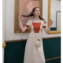 Dress Summer 2020 Coral Orange + apricot, Coral Orange + apricot batch 2 S,M,L longuette singleton  Short sleeve commute square neck High waist Dot zipper A-line skirt puff sleeve Others 18-24 years old Type A Retro Button, button More than 95% Poplin polyester fiber