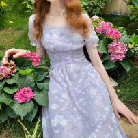 Dress Summer 2020 Oil painting purple, oil painting purple batch 6 S,M,L longuette singleton  Short sleeve commute square neck High waist Decor zipper A-line skirt puff sleeve Others 18-24 years old Type A Retro Lace up, stitching More than 95% Chiffon polyester fiber