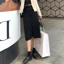 skirt Summer 2021 S M L XL Black grey Middle-skirt High waist A-line skirt Solid color Type A 25-29 years old A4496 More than 95% Denim John Ratzenberger  other Other 100% Pure e-commerce (online only)