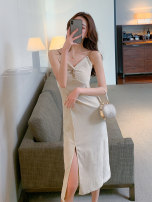 Dress Summer 2021 Apricot black S M L Mid length dress singleton  Sleeveless commute V-neck High waist Solid color Socket A-line skirt routine camisole 25-29 years old Type X John Ratzenberger  Korean version Open back chain fold split A4396 More than 95% other polyester fiber