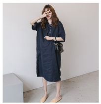 Women's large Summer 2020, autumn 2020 navy blue M. L, XL, 2XL, 3XL, 4XL, 5XL, big enough, please don't be greedy Dress singleton  commute easy moderate Socket three quarter sleeve Solid color literature Polo collar Cotton, hemp routine Button other