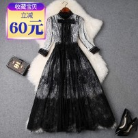 Dress Spring of 2019 White and black S,M,L,XL singleton  stand collar High waist other zipper Big swing Other / other T9481