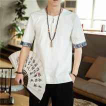 T-shirt Fashion City Black, white, ginger thin XL,L,M,4XL,5XL,XXL,XXXL Sage lizard Short sleeve Crew neck easy daily summer youth routine Chinese style other 2021 Solid color Cotton and hemp