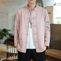 Jacket Sage lizard Fashion City Yellow, pink XL,L,M,5XL,XXL,XXXL,XXXXL Plush and thicken easy Other leisure winter Long sleeves Wear out stand collar Chinese style youth routine Single breasted 2020 Regular sleeve Deerskin velvet jacquard weave acrylic fibres