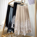 skirt Summer 2021 Average size Apricot, black, grayish blue, black and white Mid length dress Versatile High waist Pleated skirt Solid color Type A 18-24 years old 71% (inclusive) - 80% (inclusive) Lace polyester fiber Lace, pleats, solid 201g / m ^ 2 (including) - 250G / m ^ 2 (including)