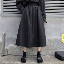 skirt Autumn of 2019 S M L black longuette commute High waist A-line skirt Solid color 25-29 years old More than 95% Besto polyester fiber pocket Polyester 100% Pure e-commerce (online only)