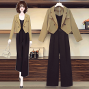 Women's large Autumn 2020 Black suit Khaki suit Other oversize styles Two piece set commute easy moderate Cardigan Long sleeves Korean version square neck routine Three dimensional cutting routine Caiqi Tengyi 25-29 years old Polyester 95% polyurethane elastic fiber (spandex) 5% Ninth pants