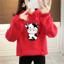 Sweater / sweater Winter 2020 White black red yellow blue purple gray apricot pink orange Avocado Green S M L XL 2XL 3XL Long sleeves routine Socket singleton  Plush Hood easy routine Cartoon animation Leia Butterfly HTNA03751 printing