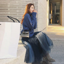 Dress Autumn 2020 Blue sweater + net skirt S,M,L,XL longuette Two piece set Long sleeves commute Crew neck High waist Solid color Socket Big swing routine Others Type A Korean version 81% (inclusive) - 90% (inclusive) brocade other