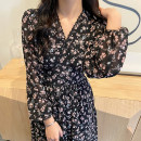 Dress Spring 2021 Light blue, black XXS,XS,S,M Mid length dress singleton  Long sleeves commute V-neck High waist Broken flowers other routine Others Type H Korean version Chiffon other