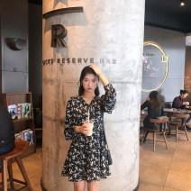 Dress Summer 2021 Black color XXS,XS,S,M Mid length dress singleton  Long sleeves commute V-neck High waist Broken flowers Princess Dress routine Others 25-29 years old Type A Korean version Chiffon