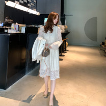 Dress Winter 2020 Off white, off white spot XXS,XS,S,M longuette singleton  Long sleeves commute V-neck High waist Solid color Socket A-line skirt routine 18-24 years old Type A Korean version Lace Lace polyester fiber