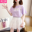 Dress Summer 2021 Purple Top + white skirt white top + black skirt S M L XL Short skirt Two piece set Short sleeve commute Crew neck High waist Solid color Socket Princess Dress routine 18-24 years old Hidina Korean version bow More than 95% other Other 100% Pure e-commerce (online only)