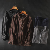 Jacket Other / other Youth fashion Black, Navy, brown, gray M,L,LL thin standard Other leisure spring Long sleeves Wear out stand collar Youthful vigor youth routine Zipper placket Solid color