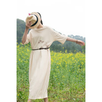 Dress Summer 2021 Apricot, greyish green, marigold orange S,M,L,XL longuette singleton  elbow sleeve commute Crew neck Loose waist Solid color Socket other routine Others 30-34 years old Type H Pastoral Tour Simplicity Embroidery 212SL323 51% (inclusive) - 70% (inclusive) other cotton