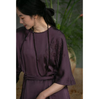 Dress Spring 2021 Afterglow purple S,M,L,XL Mid length dress singleton  elbow sleeve commute Crew neck Loose waist Solid color Socket other routine Others 35-39 years old Type A Pastoral Tour Retro 211FL152 More than 95% other silk