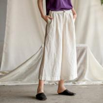 Casual pants Blue, white, black S,M,L,XL Summer of 2019 trousers Wide leg pants High waist commute Thin money 96% and above 192LK244 Original Muyi literature hemp