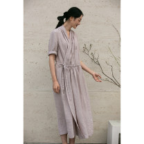 Dress Spring 2021 Taro purple S,M,L,XL Mid length dress singleton  elbow sleeve commute V-neck Loose waist Solid color Socket other routine Others 35-39 years old Type H Pastoral Tour Retro 211FL364 More than 95% hemp