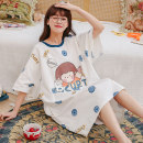 Nightdress Daymeey / daimi 155(S) 160(M) 165(L) 170(XL) 175(XXL) Sweet Short sleeve pajamas Middle-skirt summer Cartoon animation youth Crew neck cotton printing More than 95% pure cotton Summer 2021 Cotton 100%