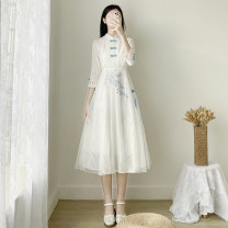 Dress Spring 2021 white S,M,L,XL Mid length dress singleton  three quarter sleeve commute stand collar High waist other zipper A-line skirt routine Others 18-24 years old Type A Retro Embroidery, stitching, buttons, lace More than 95% Lace other