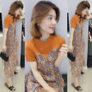 Dress Summer of 2019 Color matching orange S M L XL Mid length dress singleton  Short sleeve street Crew neck High waist Decor A-line skirt routine Others 30-34 years old Fanlis More than 95% polyester fiber Polyester 95.5% polyurethane elastic fiber (spandex) 4.5% Pure e-commerce (online only)