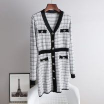 Dress Spring 2021 Picture color S M L XL Mid length dress singleton  Long sleeves commute V-neck High waist routine 25-29 years old Yingyuhan Korean version G2471 More than 95% knitting other Other 100% Same model in shopping mall (sold online and offline)