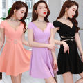Dress Autumn of 2019 Pink purple black S M L XL XXL Short skirt commute V-neck Elastic waist Solid color 18-24 years old Language contract More than 95% other Other 100% Pure e-commerce (online only)
