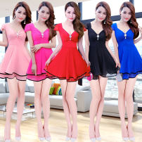 Dress Summer of 2018 S M L XL Short skirt singleton  Short sleeve Sweet V-neck middle-waisted Solid color Socket A-line skirt Others 18-24 years old Language contract Flounce lace More than 95% other other Other 100% solar system Pure e-commerce (online only)