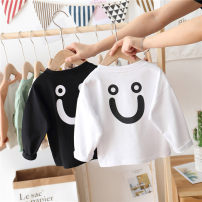 T-shirt Black, white Menger Beibei 90cm,100cm,110cm,120cm,130cm neutral spring and autumn Long sleeves Crew neck Korean version No model nothing cotton Cartoon animation Sweat absorption Chinese Mainland Zhejiang Province
