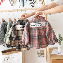 shirt Pink, yellow Naobao neutral 80cm,90cm,100cm,110cm,120cm,130cm,140cm spring and autumn Long sleeves Korean version lattice cotton Lapel and pointed collar