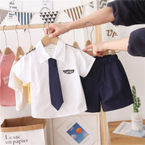 suit Menger Beibei white 90cm,100cm,110cm,120cm,130cm,140cm neutral summer Korean version Short sleeve + pants 2 pieces Thin money No model Single breasted nothing Solid color cotton children Giving presents at school Chinese Mainland Zhejiang Province