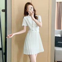 Dress Summer 2021 White black S M L XL Short skirt singleton  Short sleeve commute tailored collar High waist Solid color zipper Pleated skirt Others 18-24 years old Type A Qinze language Korean version Stitched button zipper HZC2104-501 71% (inclusive) - 80% (inclusive) polyester fiber