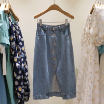 skirt Summer 2021 S,M,L White, denim blue Mid length dress commute Natural waist Denim skirt Solid color Type A 25-29 years old YLnz20218 91% (inclusive) - 95% (inclusive) Denim cotton pocket , wave Korean version