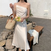 Dress Summer 2021 Big white, light apricot, elegant black S,M,L Middle-skirt singleton  Long sleeves commute other High waist Solid color zipper A-line skirt routine camisole 25-29 years old Type A Korean version Pocket, asymmetric, backless, pleated, lace, pleated, wavy, original Silk and satin