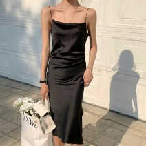 Dress Summer 2021 Atmospheric black, light apricot S,M,L longuette singleton  Sleeveless commute One word collar High waist Solid color other One pace skirt camisole 25-29 years old Type A Asymmetric, open back, pleated, original 13-2356 81% (inclusive) - 90% (inclusive) Silk and satin