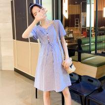 Dress yunmama Blue, pink M,L,XL,XXL Korean version Short sleeve Medium length summer Crew neck stripe Pure cotton (95% and above)