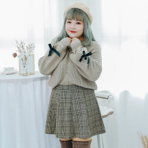 Women's large Winter 2020 L (recommended 100-120 kg), XL (recommended 120-140 kg), 2XL (recommended 140-160 kg), 3XL (recommended 160-180 kg), 4XL (recommended 180-200 kg) sweater singleton  Sweet Straight cylinder moderate Socket Long sleeves Plaid, solid Crew neck routine polyester fiber routine
