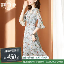 Dress Summer 2020 L XL 2XL 3XL 4XL Mid length dress singleton  elbow sleeve commute V-neck middle-waisted Broken flowers Socket Ruffle Skirt Lotus leaf sleeve Others 35-39 years old Type A Autumn impression literature Resin fixation printing with ruffle More than 95% silk Mulberry silk 100%