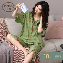 Pajamas / housewear set female Sarton M (recommended 80-100 Jin) l (recommended 100-120 Jin) XL (recommended 120-140 Jin) XXL (recommended 140-160 Jin) N--3321 viscose  Short sleeve Sweet Leisure home summer Thin money Crew neck Broken flowers Cropped Trousers Socket youth 2 pieces rubber string
