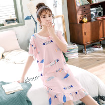 Nightdress 160(M) 165(L) 170(XL) 175(XXL) Sweet Short sleeve pajamas Middle-skirt summer Cartoon animation youth Crew neck viscose  printing More than 95% 200g and below Summer of 2019 Viscose (viscose) 100% Pure e-commerce (online only)
