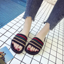 slipper three billion six hundred and thirty-seven million three hundred and eighty-three thousand nine hundred and forty Ruo Tao Red green Flat bottom Low heel (1-3cm) cloth Summer of 2018 One line rubber daily Korean version Adhesive shoes Youth (18-40 years old) lattice 588RT188 cloth PU